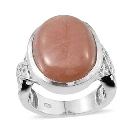 Morogoro Peach Sunstone (Ovl) Ring in Platinum Overlay Sterling Silver 16.000 Ct.