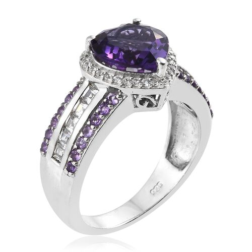 Amethyst (Hrt 3.10 Ct), Natural Cambodian Zircon Ring in Platinum Overlay Sterling Silver 4.500 Ct.