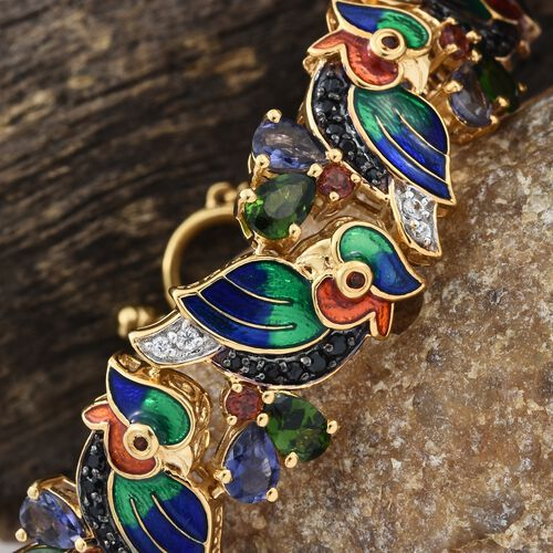 GP Russian Diopside (Pear), Iolite, Kanchanaburi Blue Sapphire, Multi Gemstone Nature Inspired Bracelet (Size 7.5) in 14K Gold Overlay Sterling Silver 15.500 Ct. Silver wt. 18.00 Gms. No. of Gems 105