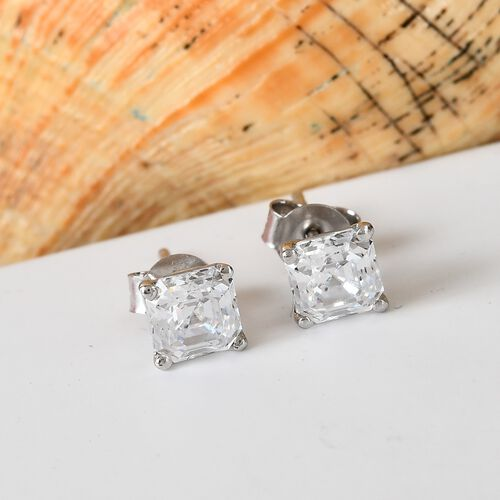 J Francis Platinum Overlay Sterling Silver Stud Earrings (with Push Back) Made with SWAROVSKI ZIRCONIA 4.00 Ct.
