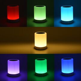 Portable Bluetooth Speaker with Smart Touch LED Colour Changing Lamps (Size: 9.5x12 Cm) - White Colo