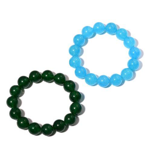 Set of 2- Aquamarine and Green Colour Quartzite (Rnd) Beads Bracelet 548.000  Ct.