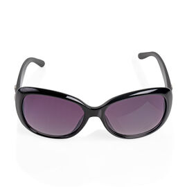 Brand NEW - Designed in Italy Oval black Sunglasses with Silver Detailing
