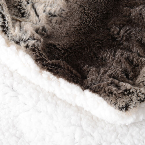 Deluxe Collection- High Quality 2 Pcs Faux Fur Cushion Cover Sett - Smoky Grey