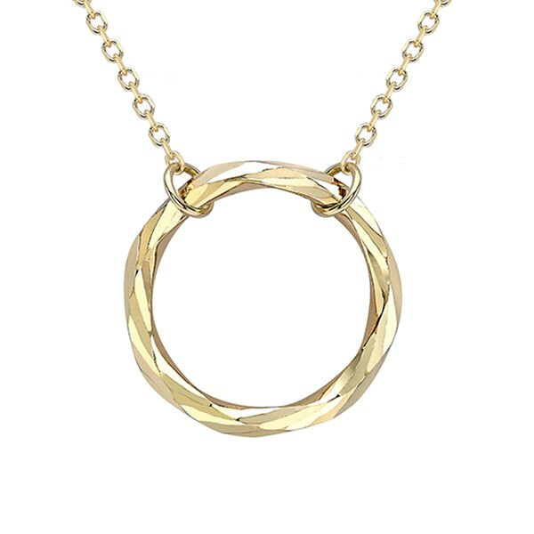 9K Yellow Gold Diamond Cut Ring Adjustable Necklace (Size - 18) with Lobster Clasp