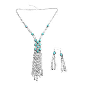 2 Piece Set - Simulated Turquoise (Ovl) Necklace (Size 30 and 3 inch Extender) and Earrings (with Hook) in Silver Plated