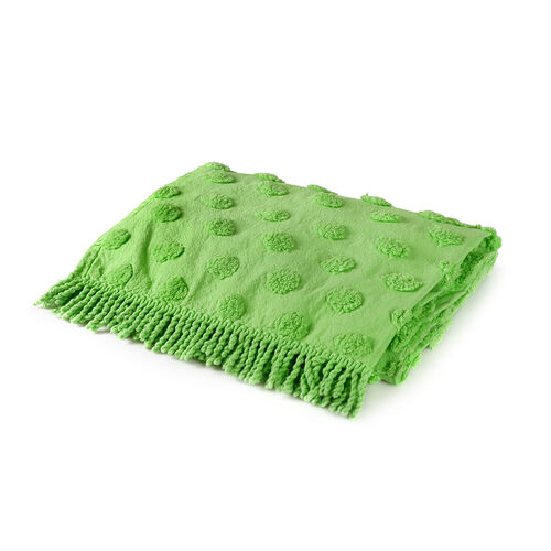 100% Cotton Tufted Sea Turtle Green Outdoor Rug with Fringes on Both Ends (Size 175x80 Cm)