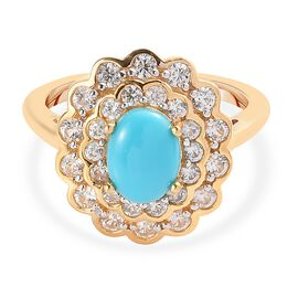 Arizona Sleeping Beauty Turquoise and Natural Cambodian Zircon Floral Ring in 14K Gold Overlay Sterl