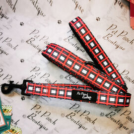 Pet Pooch Boutique- Alfies Plaid Lead (Size L-120 Cm,Handel Hold 20 CM ) - Red & White