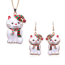 3 Piece Set - Red and Black Austrian Crystal Enamelled Cat Pendant with Chain (Size 28 with 2 Inch E