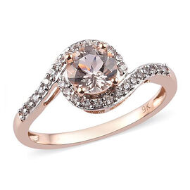 9K Rose Gold AA Maroppino Morganite and Natural Cambodian Zircon Ring 1.00 Ct.