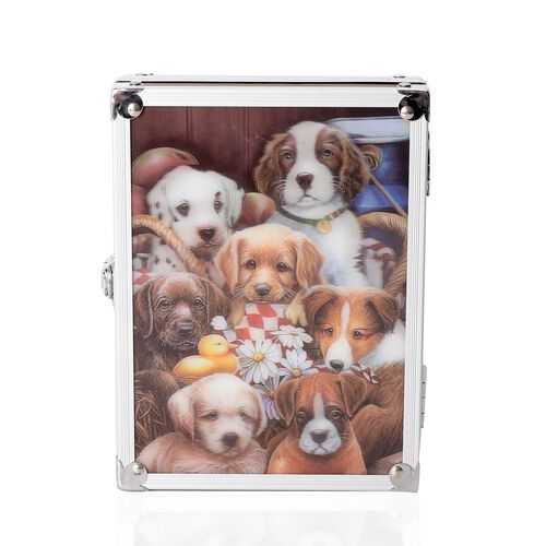 Dark Brown Colour 3D Dog Painting Jewellery Box (Size 20x15x6.2 Cm)