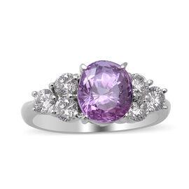 900 White Platinum  Diamond  Pink Sapphire Ring 3.42 ct,  Platinum Wt. 5.02 Gms  3.420  Ct.