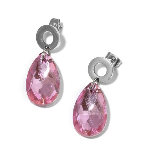 Bank Holiday Mega Offer-Simulated Pink Sapphire Pendant with Chain and Earrings in Stainless Steel.