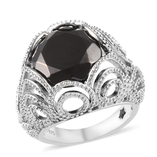 GP 4.53 Ct Elite Shungite and Blue Sapphire Solitaire Ring in Platinum Plated Silver