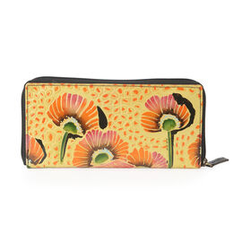 SUKRITI 100% Genuine Leather RFID Protected Handmade Poppy Flower Printed Wallet with Zip Closure (S