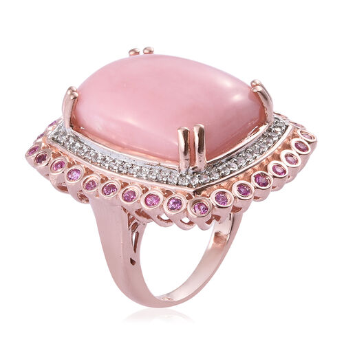 Peruvian Pink Opal (Cush 14.00 Ct), Pink Sapphire and Natural Cambodian Zircon Ring in Rose Gold Overlay Sterling Silver 15.250 Ct, Silver wt 8.30 Gms