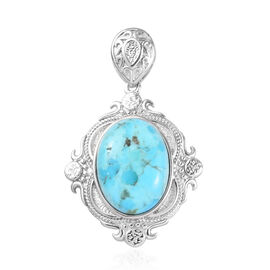 Turquoise Solitaire Pendant in Platinum Plated 1.00 Ct.