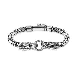 Royal Bali Collection - Sterling Silver Dragon Head Tulang Naga Bracelet (Size 7), Silver wt 49.53 G