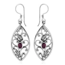 Royal Bali Collection African Ruby (Ovl) Hook Earrings in Sterling Silver 1.820 Ct, Silver wt 5.00 G