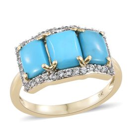 3 Carat Sleeping Beauty Turquoise and Cambodian Zircon Ring in 9K Gold