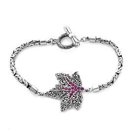 Bali Legacy 0.55 Ct African Ruby Maple Leaf Borobudur Bracelet in Silver 15.50 Grams 7.25 Inch