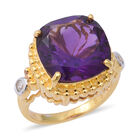 Zambian Amethyst (Cush 14x14 mm), Natural Cambodian White Zircon Ring (Size P) in Yellow Gold and Rhodium Ove