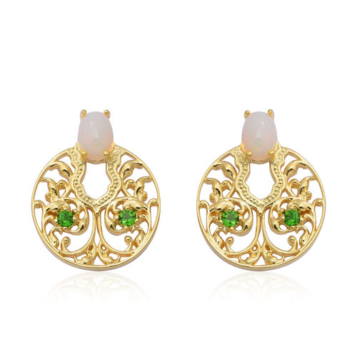 Ethiopian Welo Opal and  Russian Diopside Earrings (with Push Back) in Yellow Gold Overlay Sterling