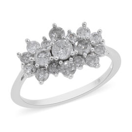 1 Carat Diamond Cluster Boat Ring in 9K White Gold SGL Certified I3 GH