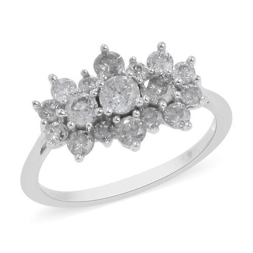 1 Carat Diamond Cluster Boat Ring in 9K White Gold SGL Certified I3 GH