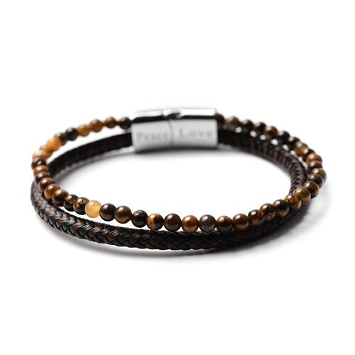 Men's Personalise Leather and Tiger Eye Beads Bracelet