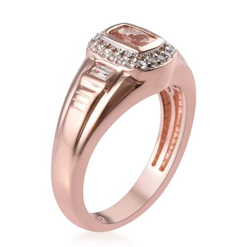 Marropino Morganite and Natural Cambodian Zircon Ring in Rose Gold Overlay Sterling Silver 1.02 Ct, Silver wt 5.60 Gms