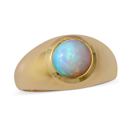 Ethiopian Welo Opal Solitaire Ring in Yellow Gold Overlay Sterling Silver 1.20 Ct.