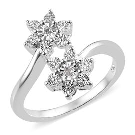 One Time Deal - Diamond (Rnd) Floral Bypass Ring in Sterling Silver