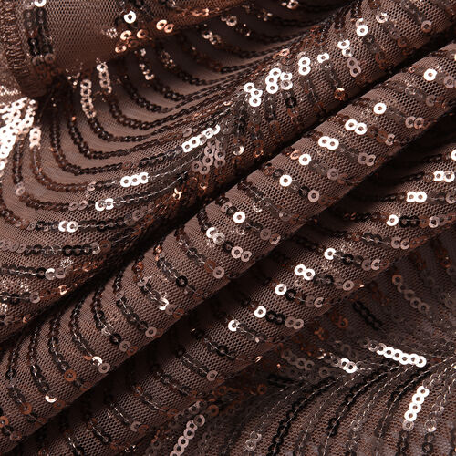 Scallop Pattern Sequin Scarf (Size 58x190 Cm) - Taupe