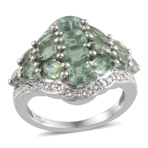 5 Ct Orissa Green Kyanite and Diamond Cluster Ring in Platinum Plated Silver 5.8 Grams