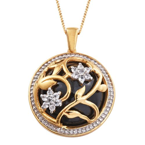 GP Boi Ploi Black Spinel (Rnd), Natural Cambodian Zircon and Kanchanaburi Blue Sapphire Pendant with Chain in 14K Gold Overlay Sterling Silver 23.500 Ct.