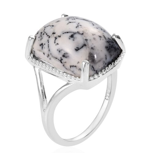 Dendritic Agate (Cush 16x12 mm) Solitaire Ring in Sterling Silver 8.00 Ct.