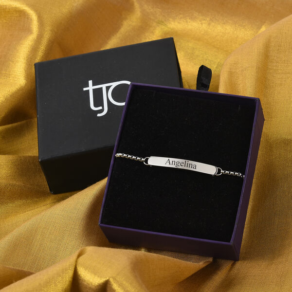 Personalised Engraved Bar Bolo Bracelet in Silver Tone