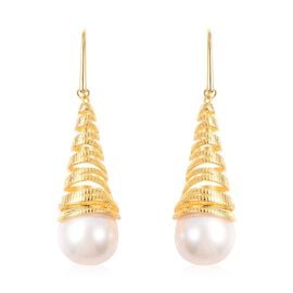 Edison Pearl Wavy Cone Drop Earrings in Gold Plated Silver 9 Grams