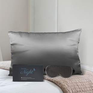 100% Mulberry Silk Front Side- Set of Pillowcase and Eyemask (Size 23.5x10.5cm) - Dark Grey