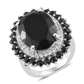Black Tourmaline (Ovl 12.40 Ct), Boi Ploi Black Spinel, Natural Cambodian Zircon Ring in Platinum Ov