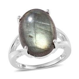 Labradorite (Ovl 16x12 mm) Ring in Sterling Silver 10.25 Ct.