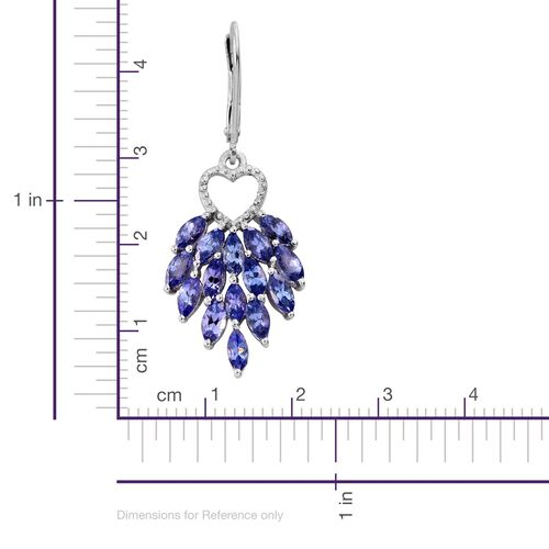 Tanzanite (Mrq) Heart Lever Back Earrings in Platinum Overlay Sterling Silver 5.000 Ct.
