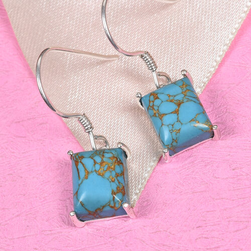 Blue Turquoise Hook Earrings in Sterling Silver 7.00 Ct.