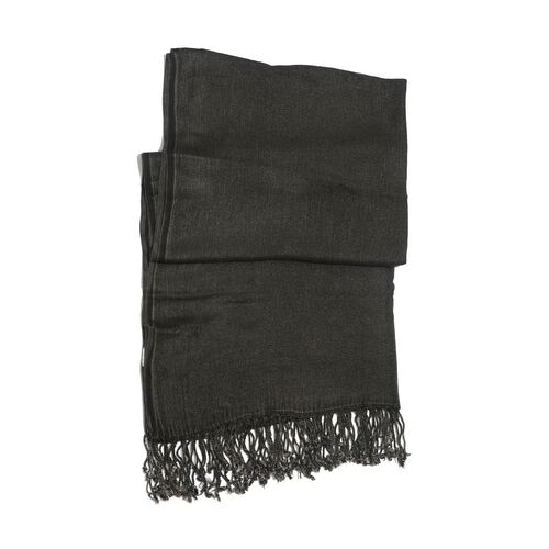 One Time Deal 100% Rayon Charcoal Colour Scarf with Fringes (Size 175x70 Cm)