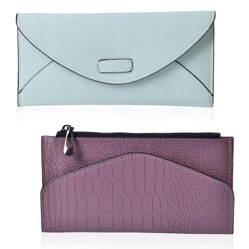 Set of 2 - TJC Envelope Design Pastel Green Colour and Croc Embossed Purple Colour Wallet (Size 20.5x10 Cm and 20x10 Cm)
