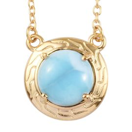 3 Carat Larimar Alluring Design Necklace in Gold Plated Sterling Silver 18 Inch