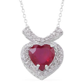 Designer Inspired -  African Ruby (Hrt), Natural White Cambodian Zircon Necklace (Size 18) in Rhodium Plated Sterling Silver 5.500 Ct.