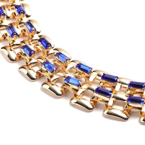 Designer Inspired- Blue Crystal- Panther Link Necklace (Size 20) in Gold Tone